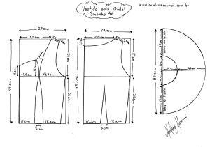 Molde do Vestido de Saia Godê tamanho 46.