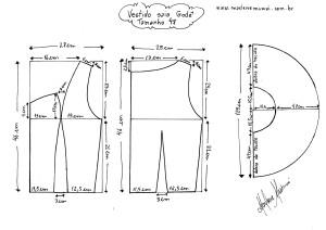 Molde do Vestido de Saia Godê tamanho 48.