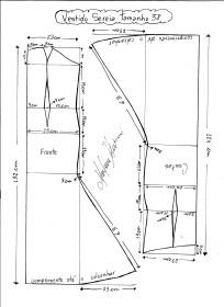 Esquema de modelagem de Vestido de festa sereia tamanho 38