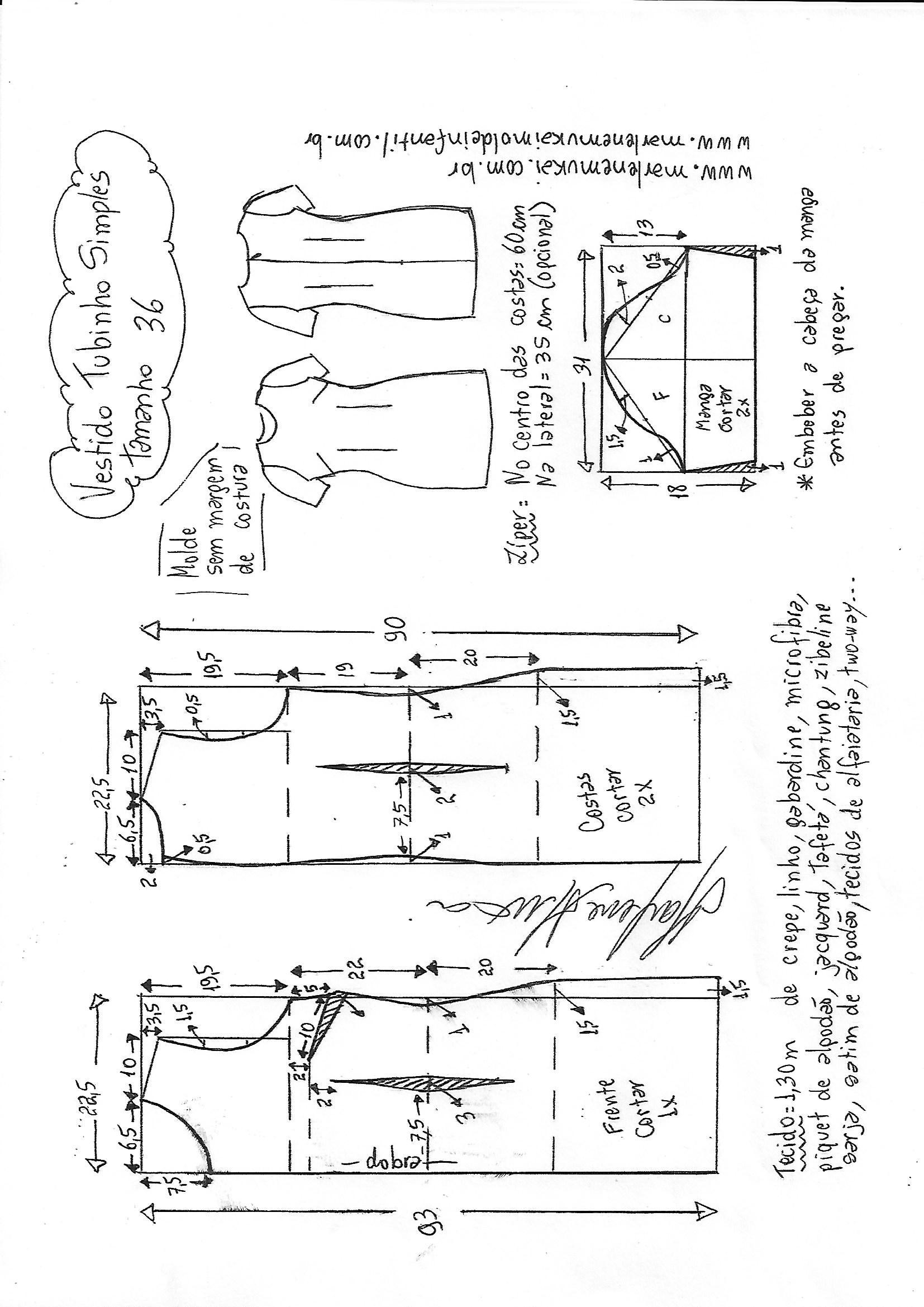 Super Vestido tubinho simples manga curta | DIY - molde, corte e costura  RA71