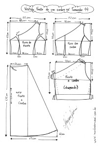 Esquema de Modelagem do Vestido de Festa de Um Ombro Só tamanho 44.