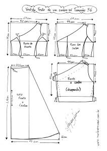 Esquema de Modelagem do Vestido de Festa de Um Ombro Só tamanho 56.