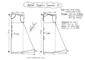 Esquema de molde de Vestido Trapézio tamanho 36.