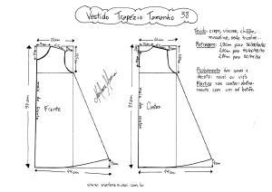 Esquema de molde de Vestido Trapézio tamanho 38.