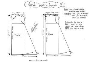 Esquema de molde de Vestido Trapézio tamanho 44.