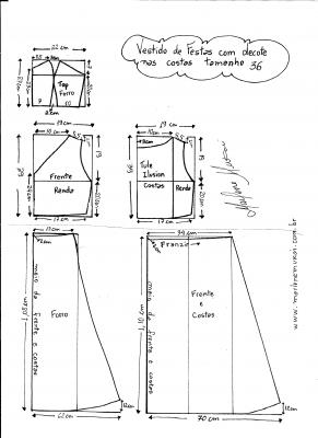 Esquema de modelagem de Vestido com decote nas costas tamanho 36