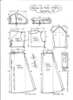 Esquema de modelagem de vestido de festa  império tamanho 50.