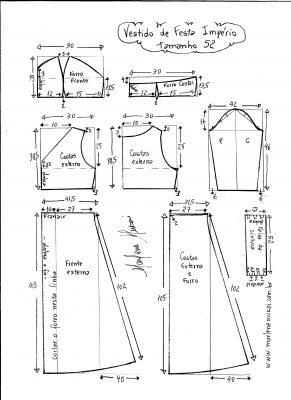 Esquema de modelagem de vestido de festa  império tamanho 52.