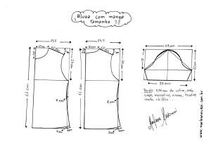 Esquema de modelagem de Blusa Básica tamanho 38.