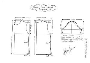 Esquema de modelagem de Blusa Básica tamanho 40.