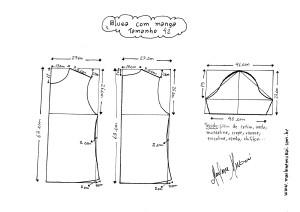 Esquema de modelagem de Blusa Básica tamanho 42.