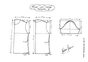 Esquema de modelagem de Blusa Básica tamanho 56.