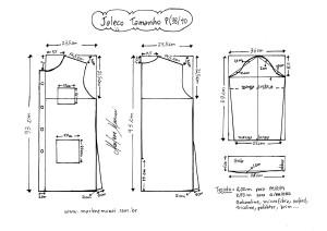 Esquema de modelagem de Jaleco tamanho PP (38/40).
