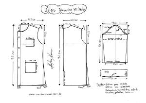 Esquema de modelagem de Jaleco tamanho PP (34/36).