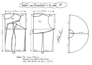 Esquema de modelagem de vestido com transparência godê tamanho 38.