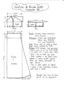 Esquema de Modelagem do Vestido de Alcinha tamanho 38.