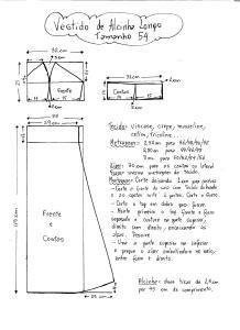 Esquema de Modelagem do Vestido de Alcinha tamanho 54.