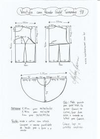 Esquema de modelagem de vestido com renda tamanho 48.
