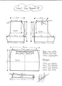 Esquema de modelagem de short saia tamanho 40.