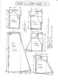 Esquema de modelagem de Vestido Longo com alça e babado tamanho 52.