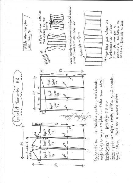 .Esquema de modelagem de corselet  tamanho 52.