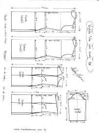 Esquema de modelagem de Vestido Tubinho com Renda e manga 3/4 tamanho 48.
