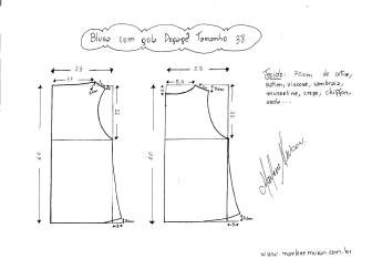 Esquema de modelagem de Blusa com gola Degagê tamanho 38.