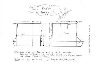 Esquema de modelagem de short envelope tamanho P.