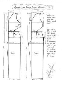Esquema de modelagem de Macacão com Recorte Lateral tamanho 50