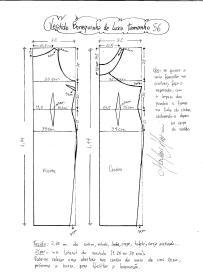 Esquema de modelagem do Vestido Bonequinha de Luxo tamanho 56.