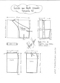 Esquema de modelagem de Vestido com decote Cruzado tamanho 42.