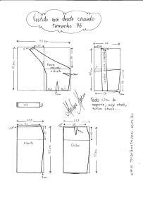 Esquema de modelagem de Vestido com decote Cruzado tamanho 46.