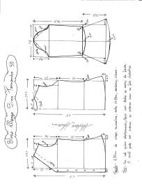 Esquema de modelagem de Blusa com Manga Sino tamanho 50.