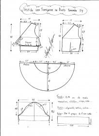 Esquema de modelagem de Vestido com Transpasse embaixo do busto tamanho 54.