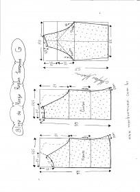 Esquema de modelagem de blusa de malha de manga raglan tamanho G.