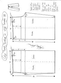 Esquema de modelagem de Calça Pareô, Wrap ou Envelope tamanho 38.