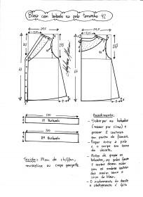 Esquema de modelagem de blusa com pala e babado tamanho 42.