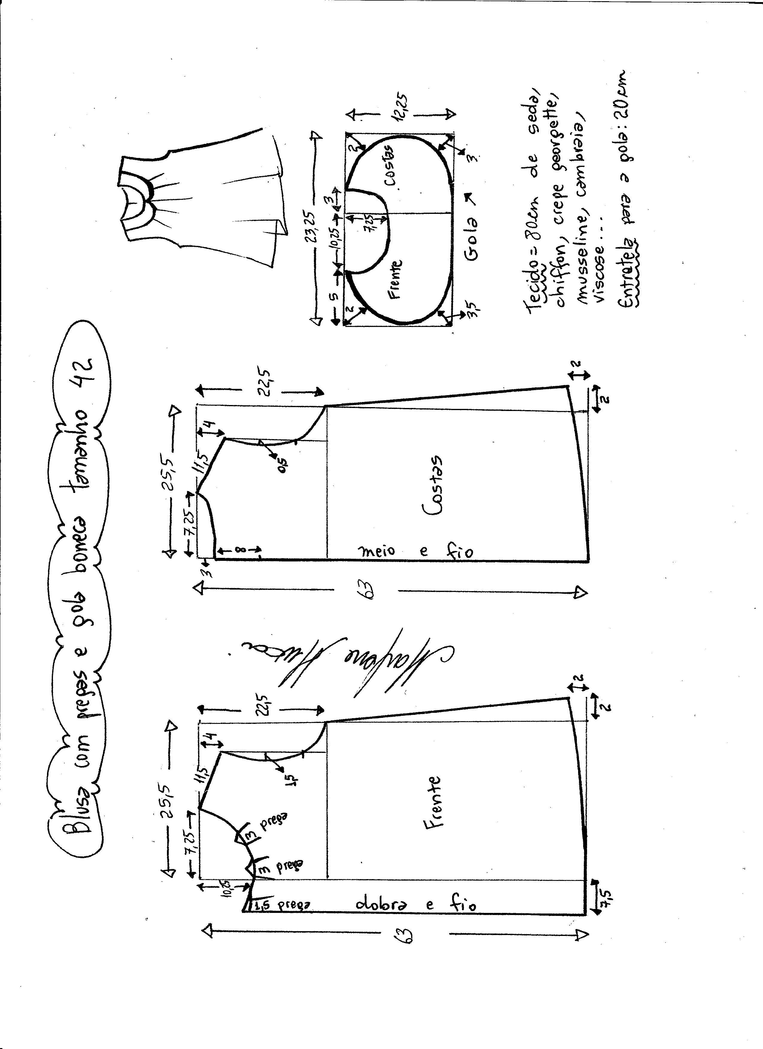 Esquema de modelagem de Base de Blusa tamanho 42