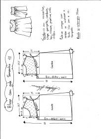 Esquema de modelagem de blusa com pala e renda tamanho 48.