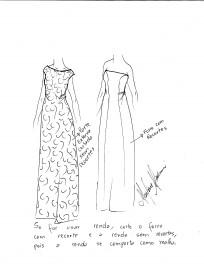 Há várias opções para se fazer este vestido. Caso vá fazer como o modelo dourado, faça o forro com recortes e a parte externa em renda, sem recortes, pois a renda tem elasticidade natural e molda o corpo sobre o forro.