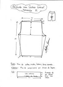 Esquema de modelagem de bermuda em malha sem costura lateral tamanho M.