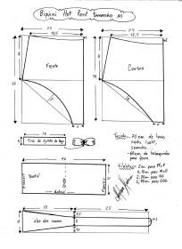 Esquema de modelagem de biquíni hot pant tamanho M.