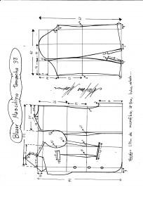 Esquema de modelagem de Blazer ou Paletó masculino tamanho 38.