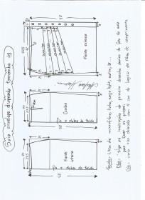 Esquema de modelagem de saia lápis com drapeado tamanho 48.