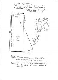 Esquema de modelagem de vestido fácil com cava americana tamanho 44.