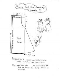 Esquema de modelagem de vestido fácil com cava americana tamanho 56.