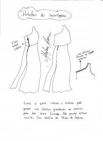 Dados da montagem do vestido longo de um ombro só.