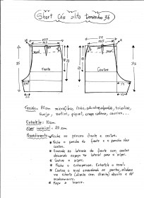 Esquema de modelagem de short cintura alta tamanho 36.