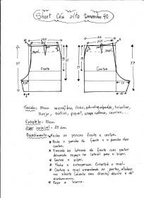 Esquema de modelagem de short cintura alta tamanho 40.