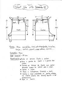 Esquema de modelagem de short cintura alta tamanho 42